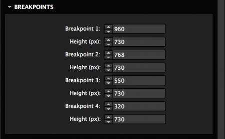 Set the height for the slideshow across breakpoints