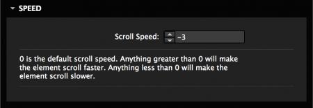 Set the scroll speed