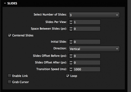 Set slide options