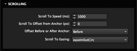 Set scroll speed, easing, and offset