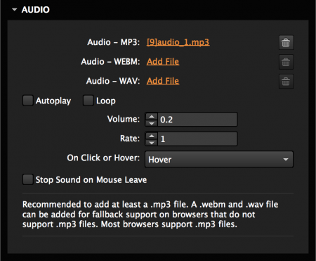 Set trigger, volume, and speed of audio