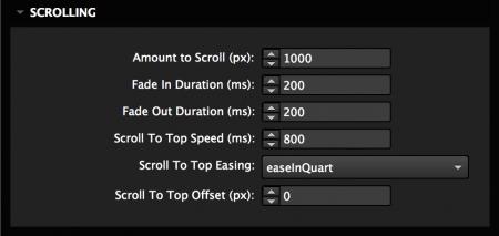 Set scroll options