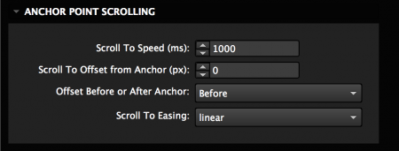 Set anchor point scrolling speed and easing